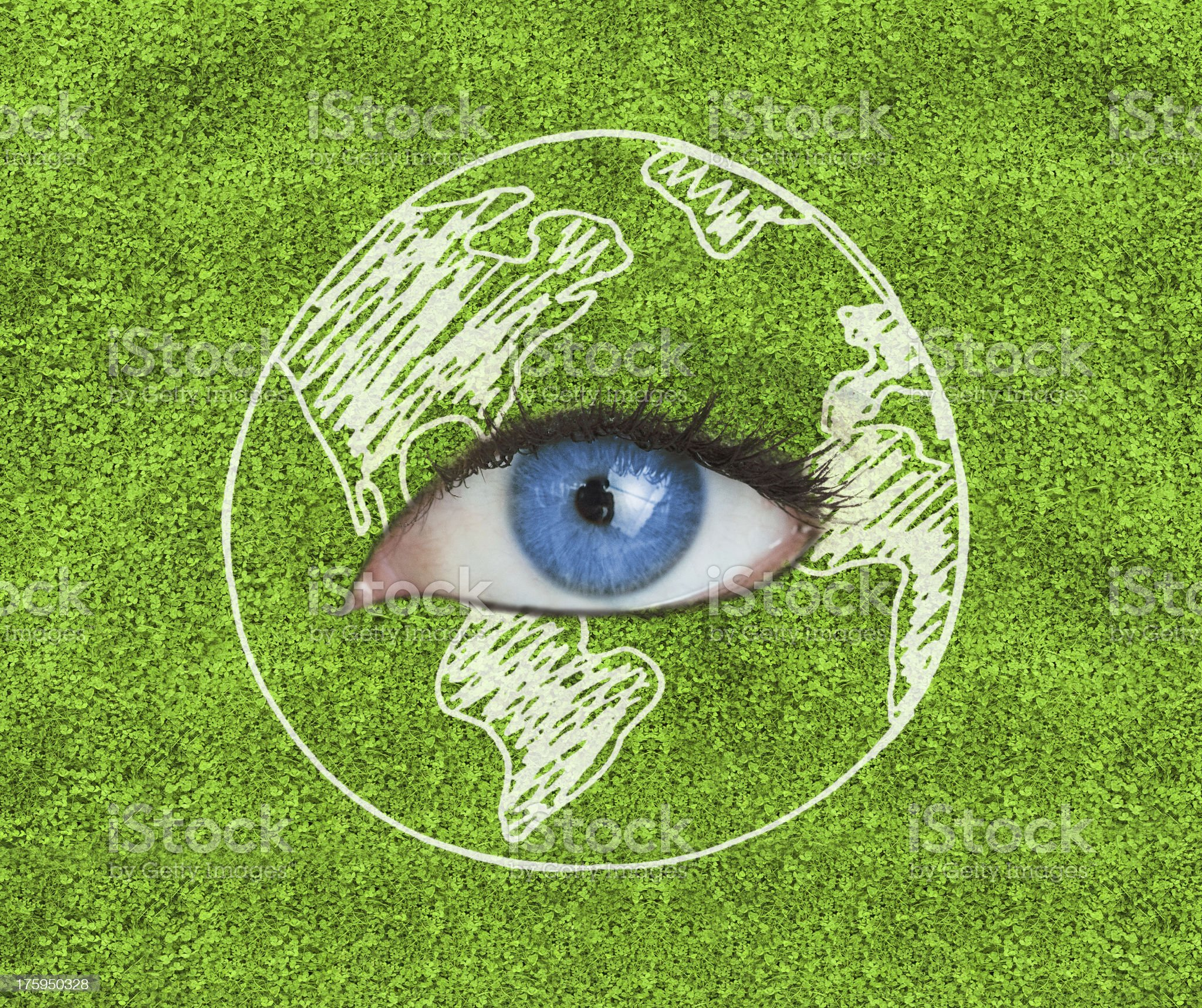 Blue eye surrounded by a drawing of the Earth royalty-free stock vector art