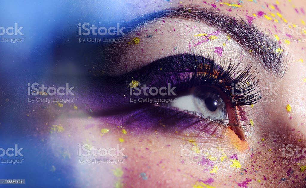 blue eye with makeup stock photo