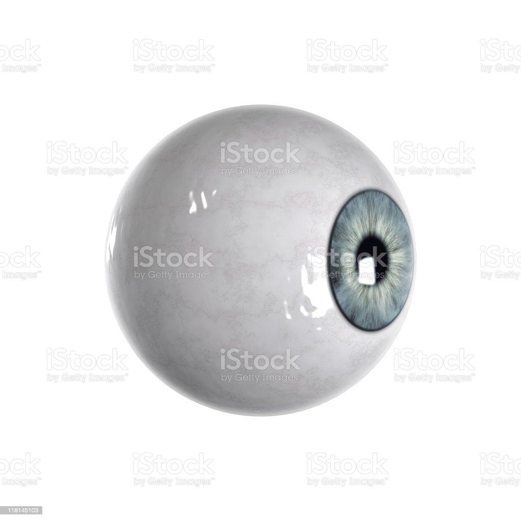 Blue eyeball sideview stock photo