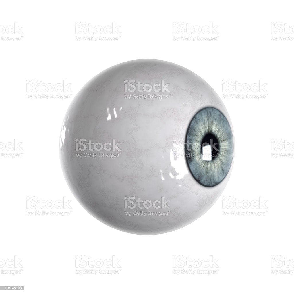 Blue eyeball sideview stock photo