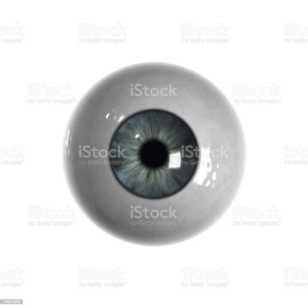 Blue eyeball with no veins visible stock photo