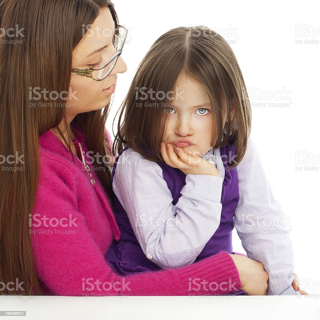 Blue eyed beautiful little girl making a face royalty-free stock photo