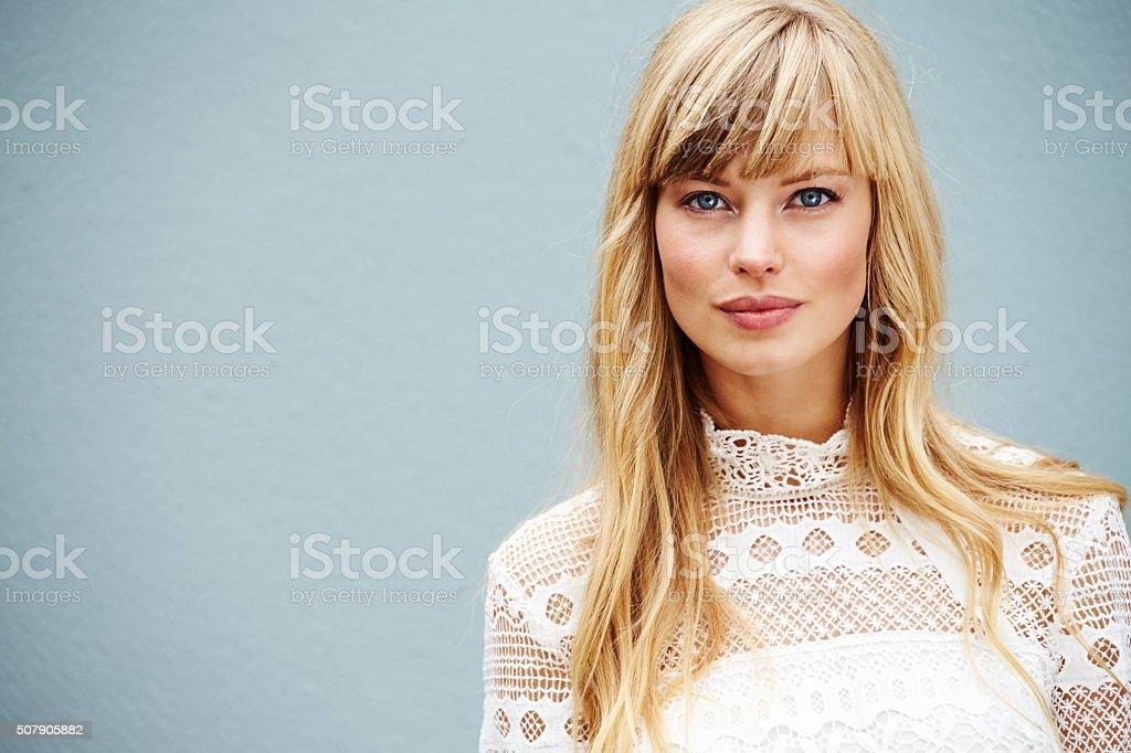 Blue eyed blond stock photo