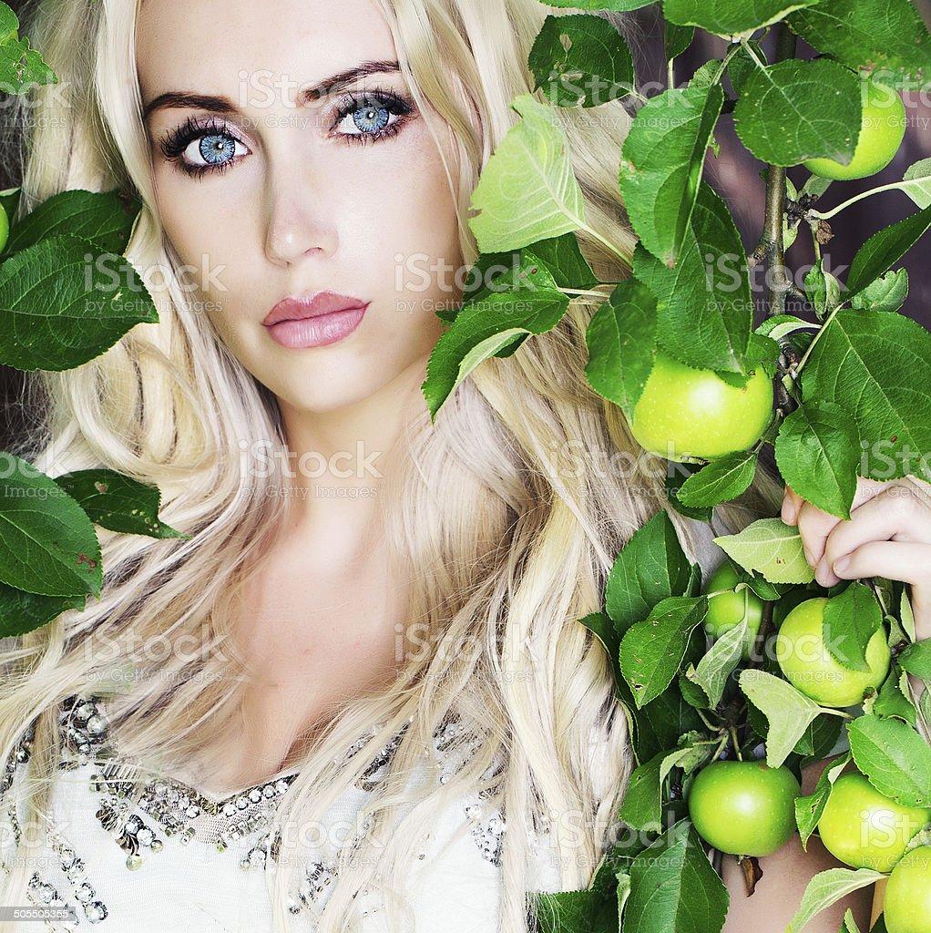 blue eyed blonde stock photo