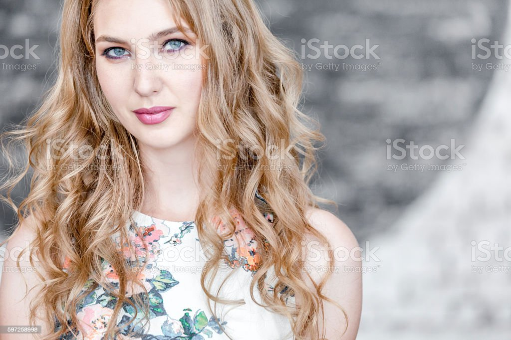 Blue Eyed Blonde Woman stock photo