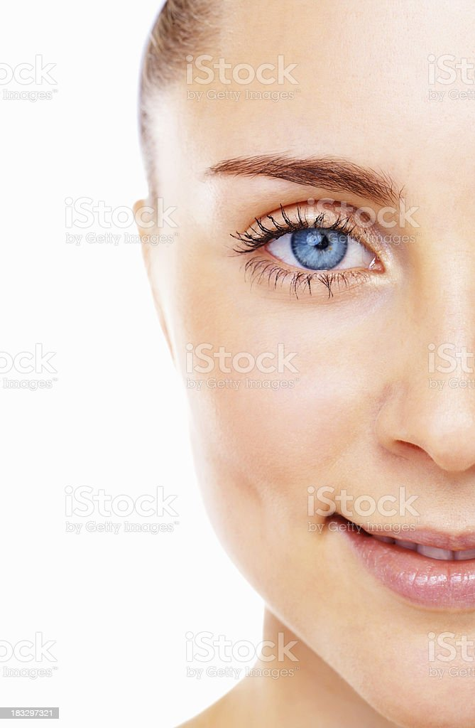 Blue eyed female smiling stock photo