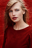 Blue eyed lady in red
