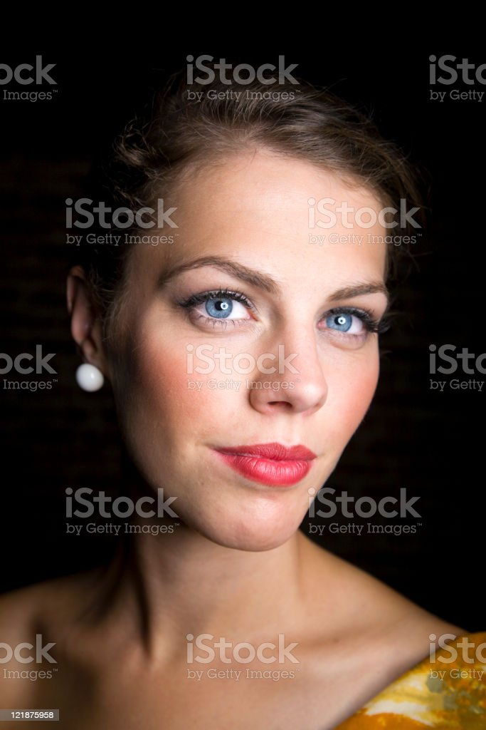 Blue Eyed Young Woman stock photo