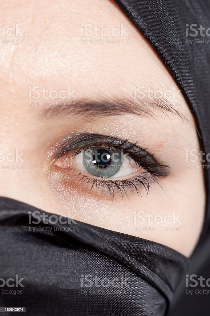 Blue Eyes: Beautiful women wearing a Hijab royalty-free stock photo