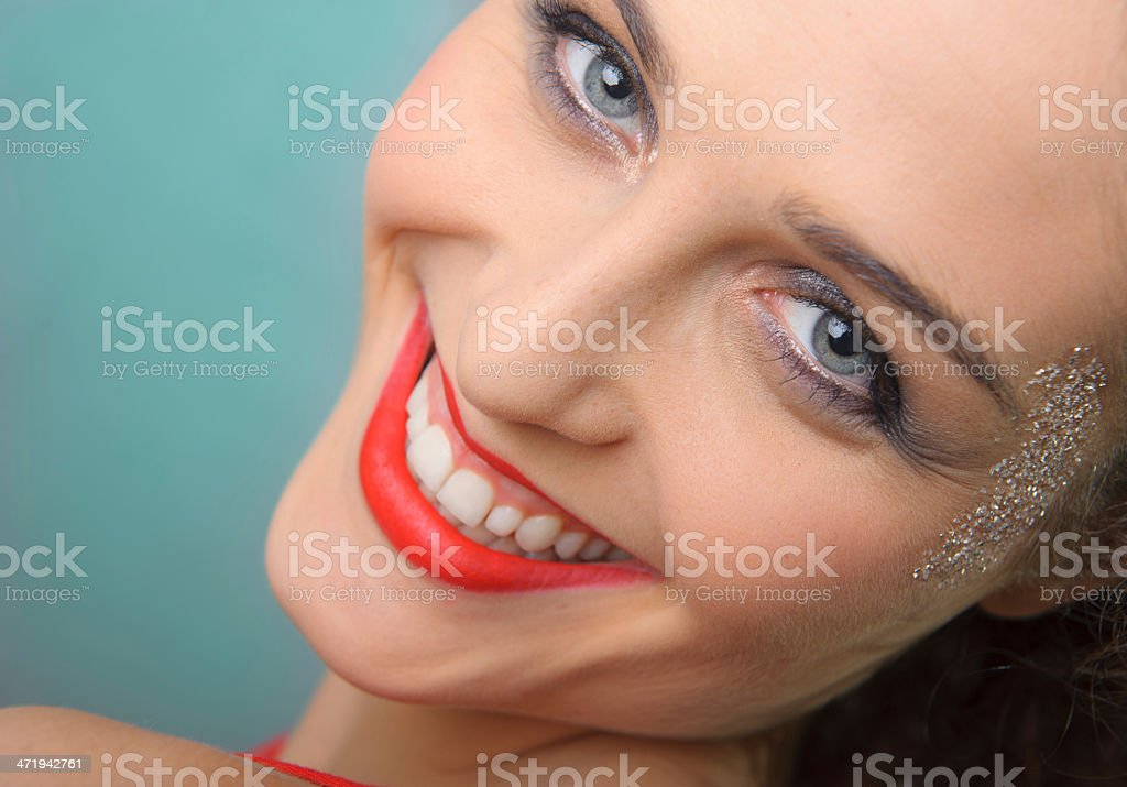 Blue eyes girl with big smile stock photo