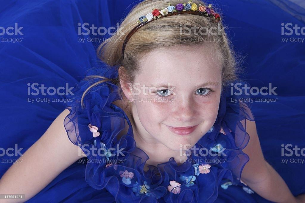 Blue Eyes in a Beautiful Dress stock photo