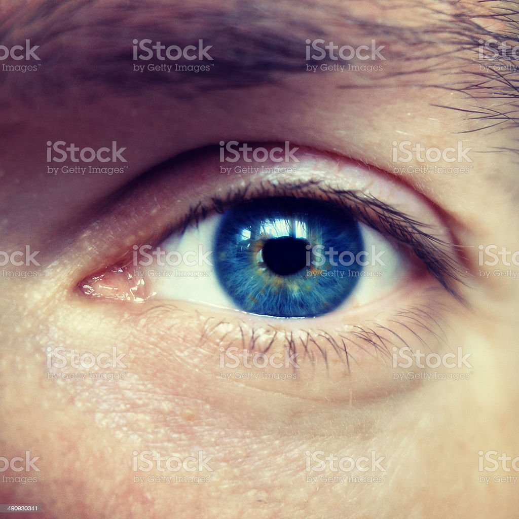 Blue eyes of a man stock photo