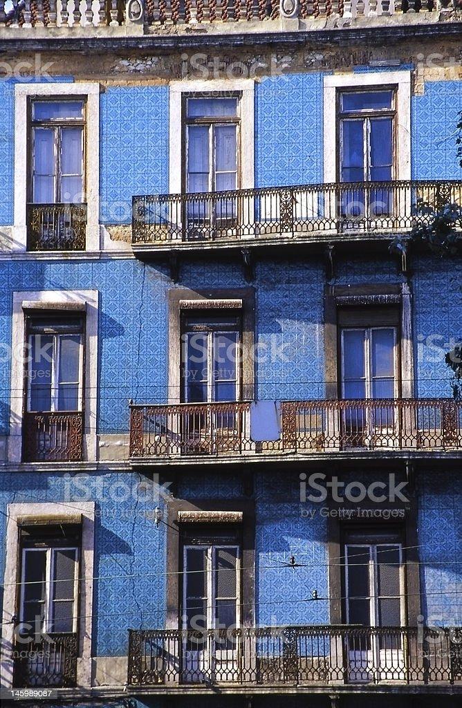 Blue façade in Lisbon royalty-free stock photo