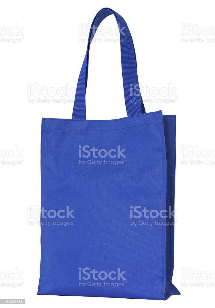 blue fabric bag isolated stock photo