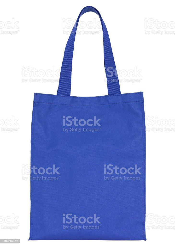 blue fabric bag (clipping path) stock photo