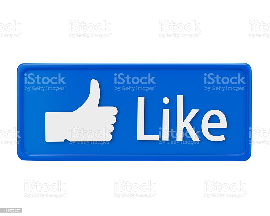 Blue Facebook like button with a white hand and text royalty-free stock photo