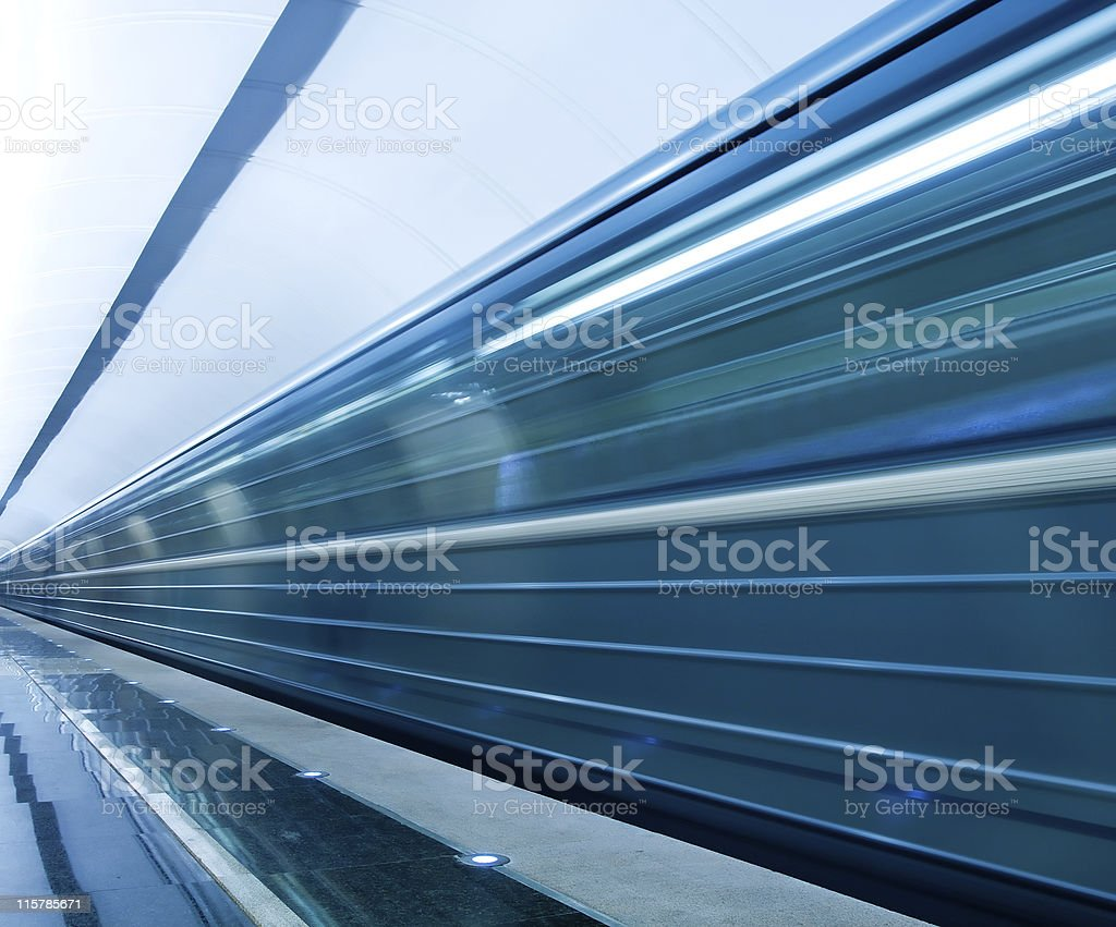 blue fast train royalty-free stock photo