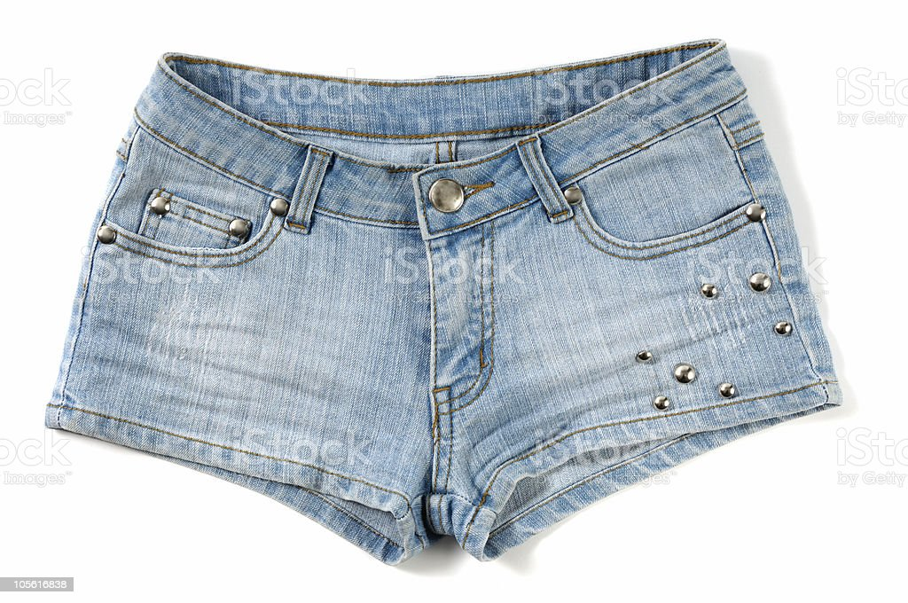 Blue female jeans shorts royalty-free stock photo