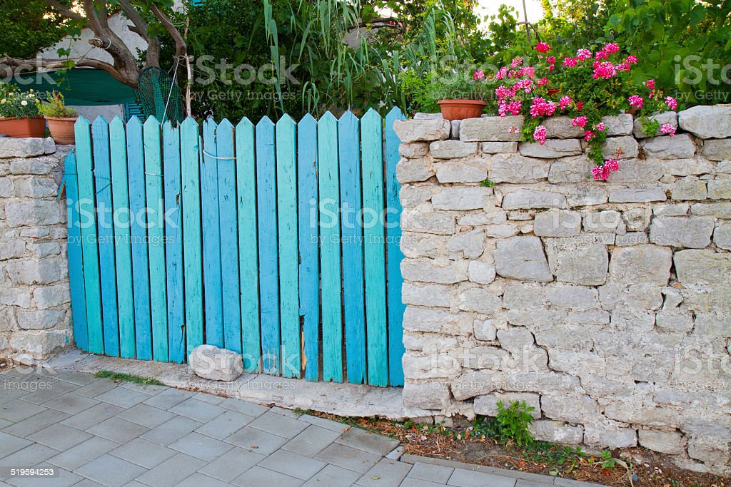 Blue fence stock photo