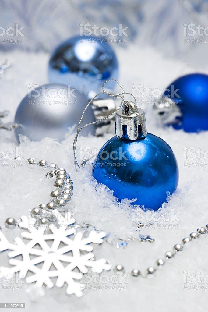 blue festive decoration on snow royalty-free stock photo