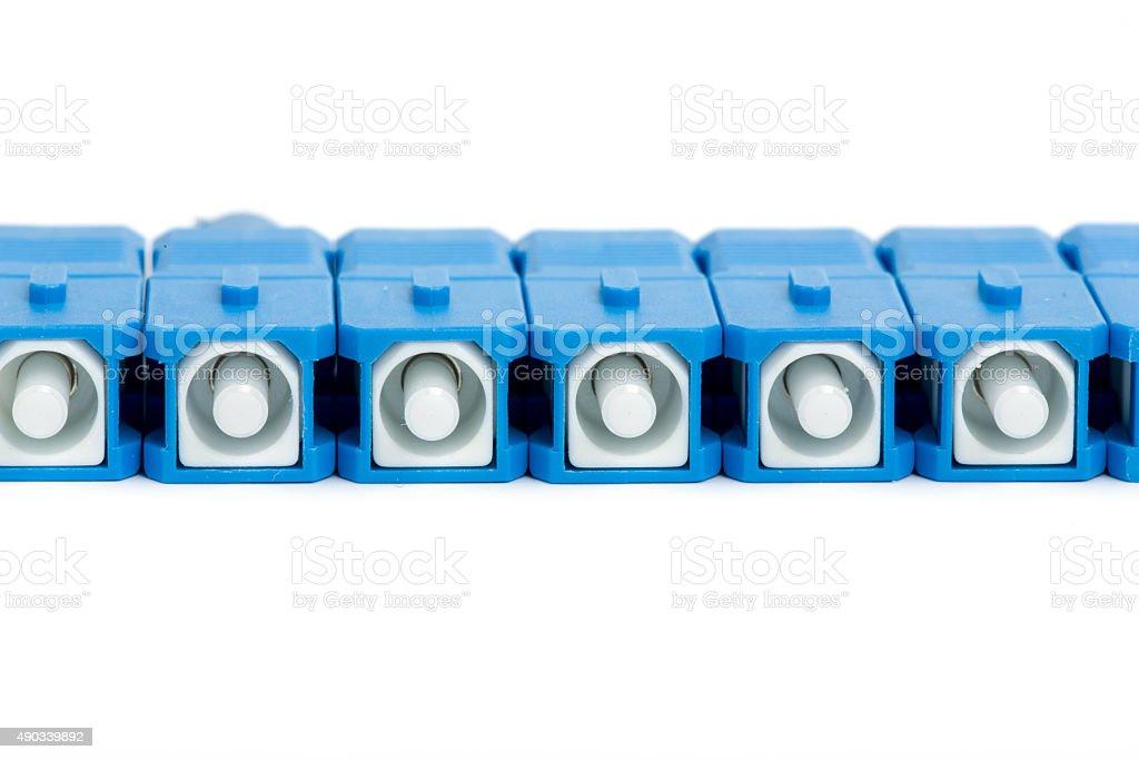 blue fiber optic SC connector stock photo