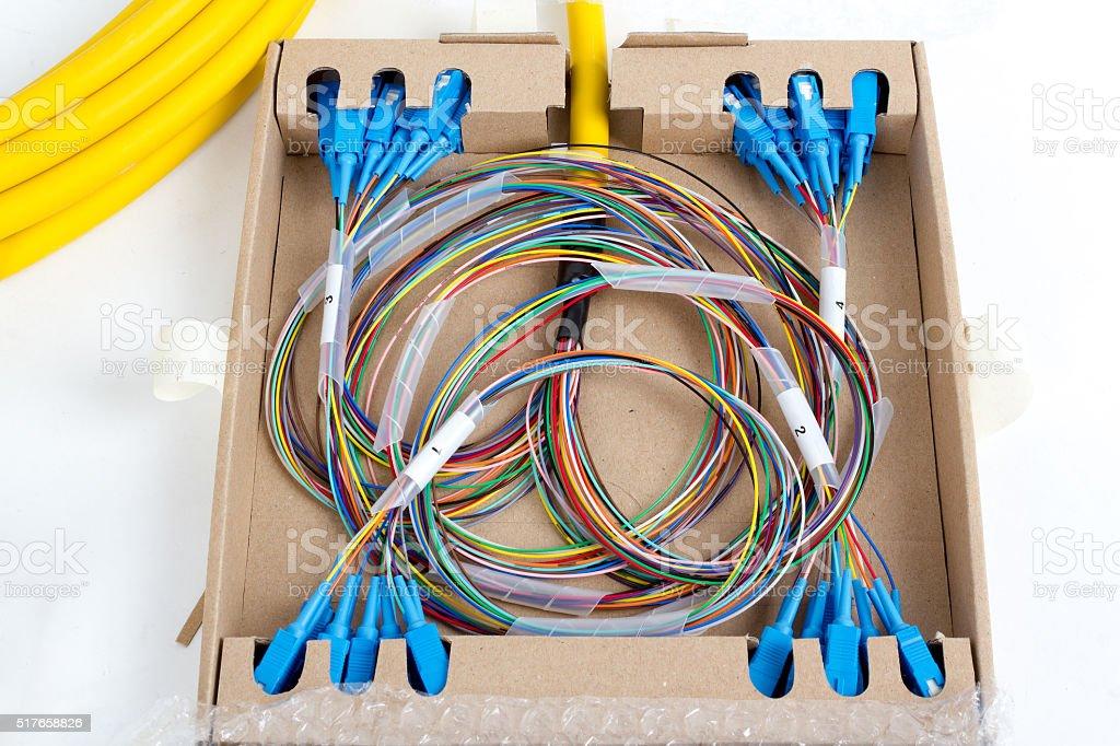 blue fiber optic SC connectors stock photo
