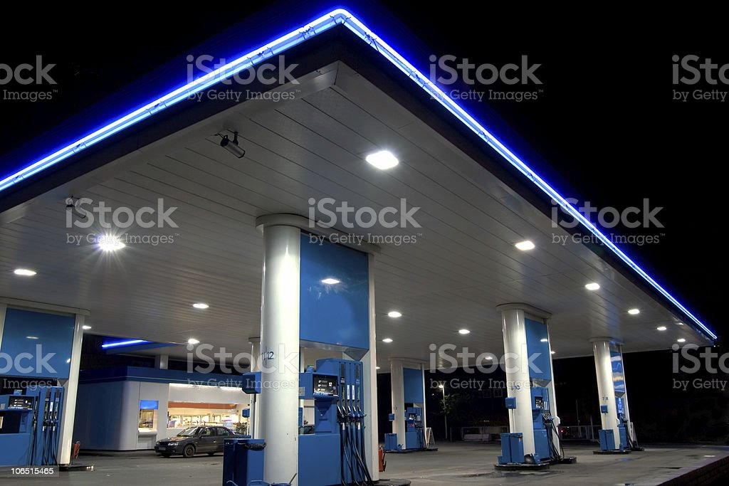 Blue filling station stock photo