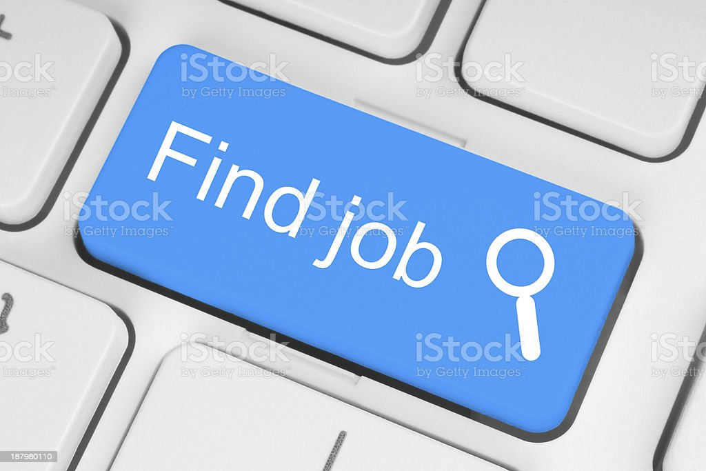 Blue find job button stock photo