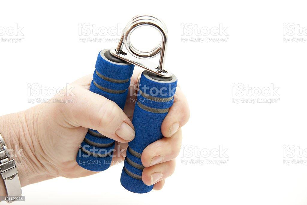 Blue finger dumbbell stock photo
