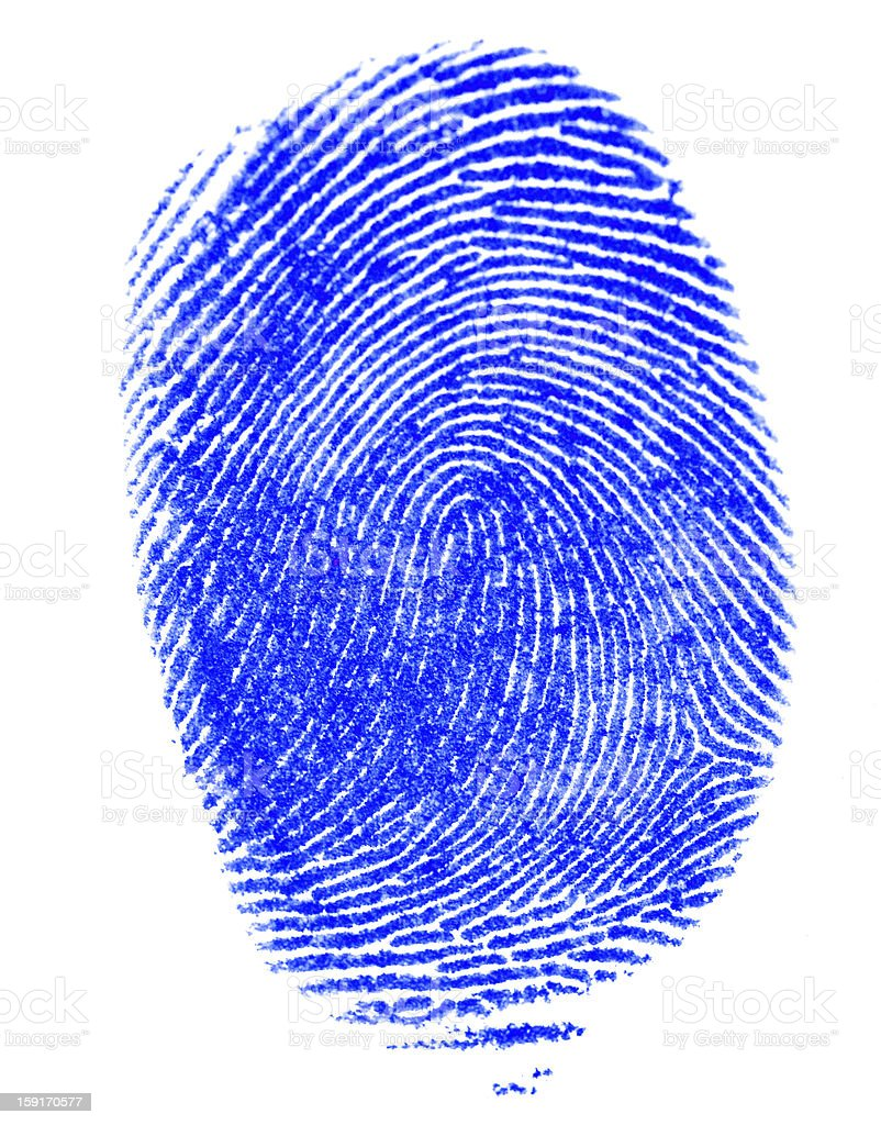 Blue fingerprint royalty-free stock photo