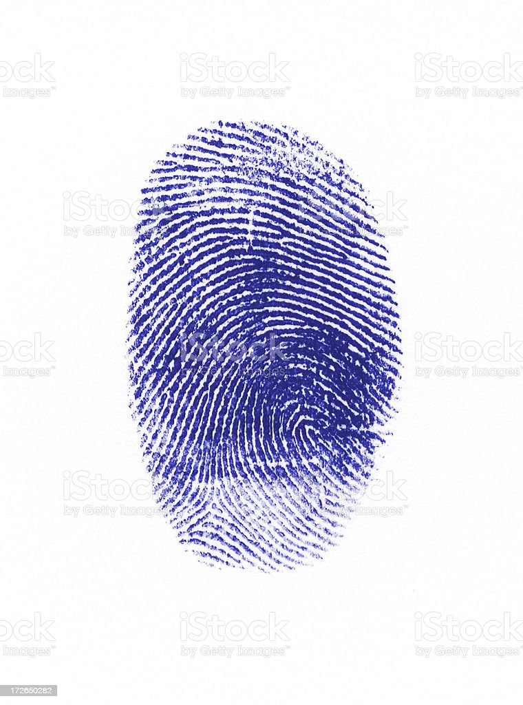 Blue fingerprint stock photo