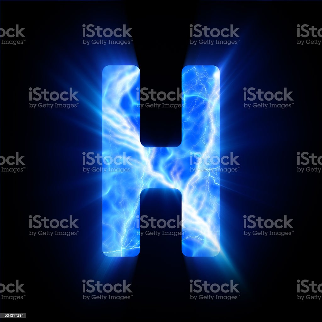 Blue fire letter. H. stock photo