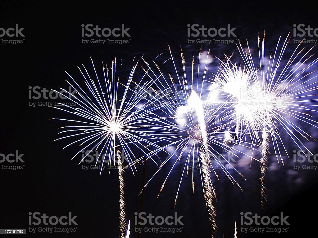 Blue fireworks royalty-free stock photo