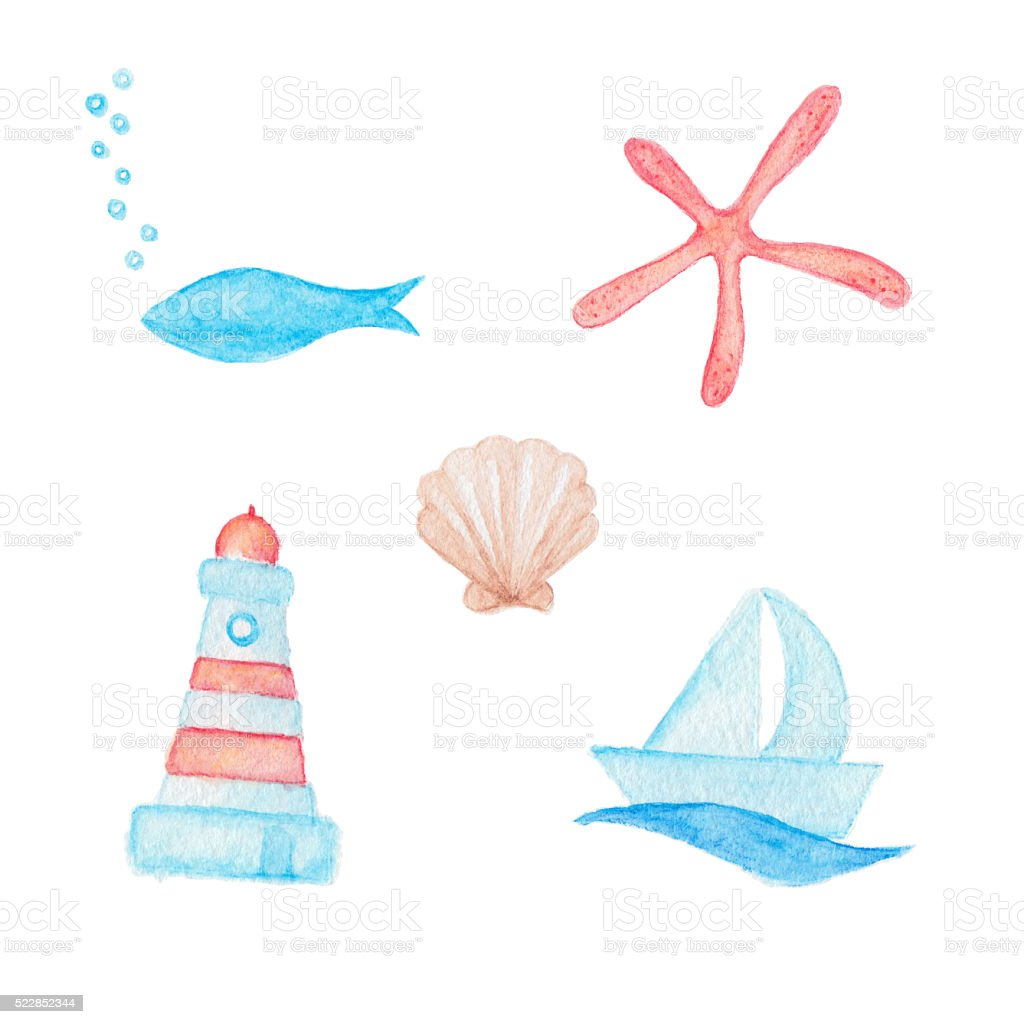 Blue fish, red starfish, shell, boat and lighthouse drawings stock photo
