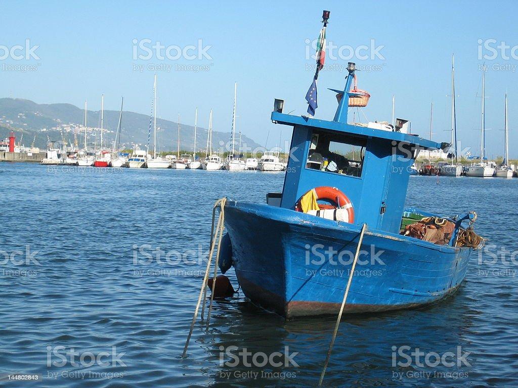 Blue fishing boat, La Spezia royalty-free stock photo