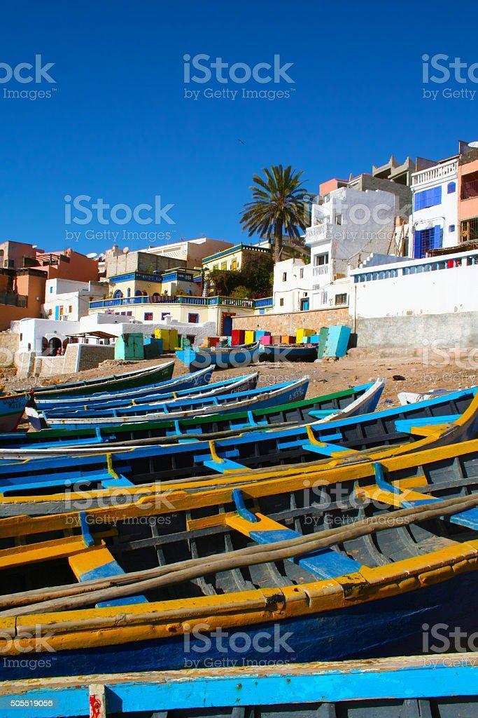 Blue fishing boats in Ahrud near Agadir, Morocco stock photo