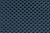 Blue fishnet cloth material texture background. Blue nylon.
