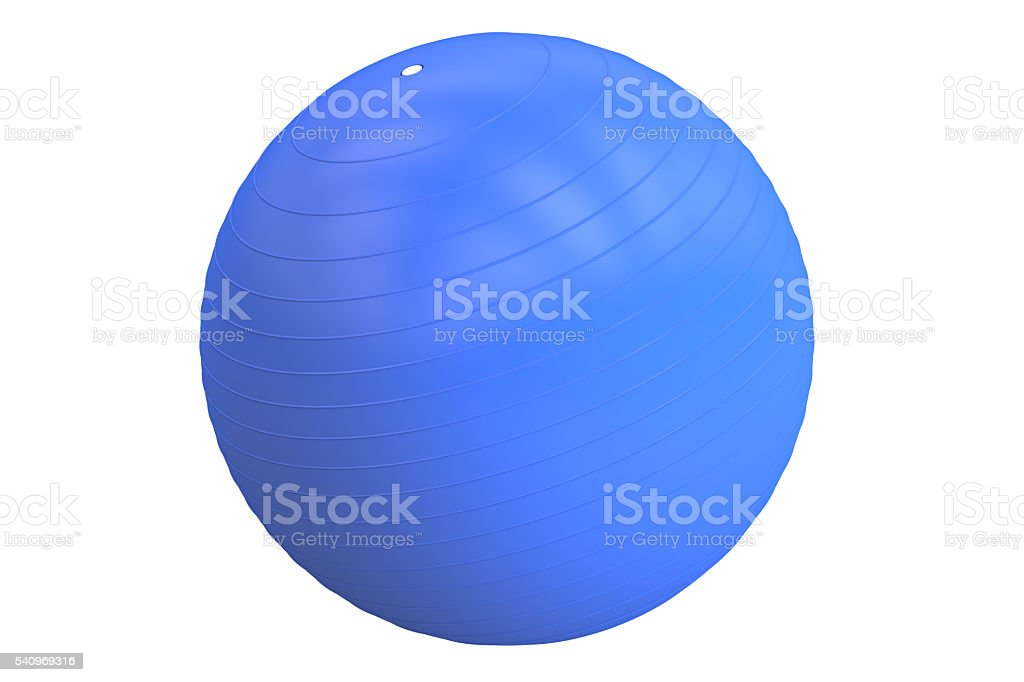 Blue Fitball, 3D rendering stock photo