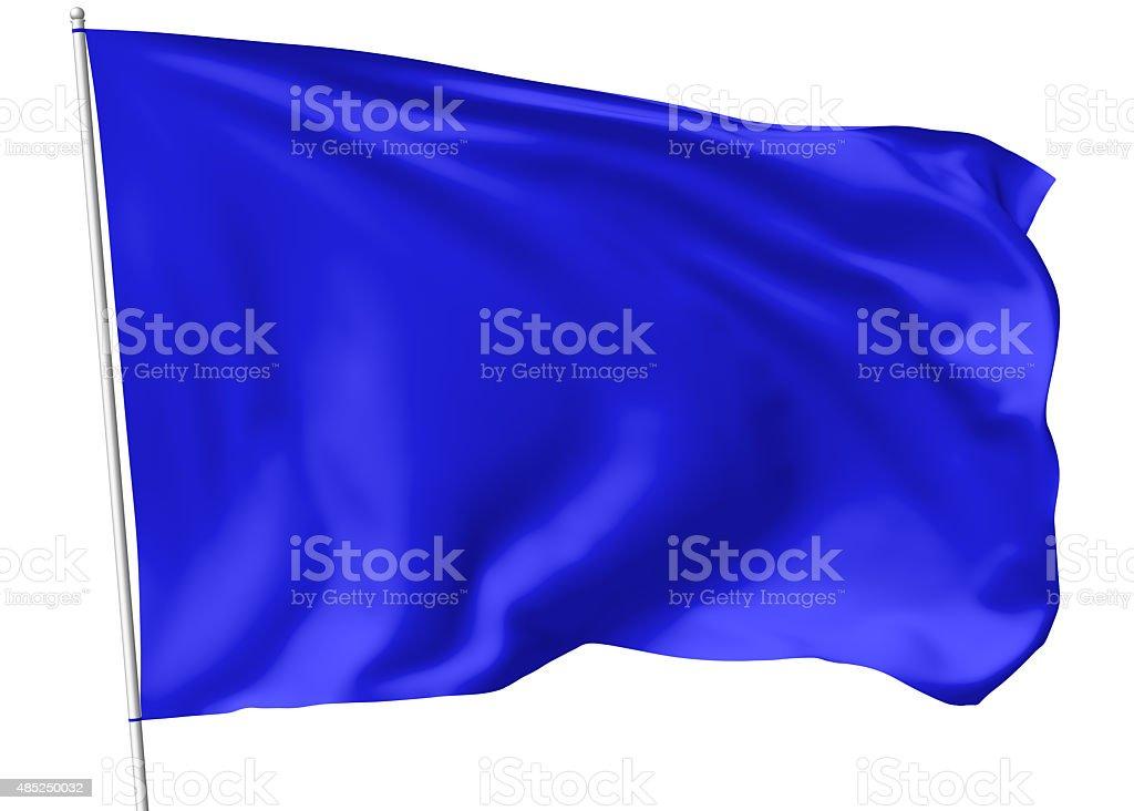 Blue flag on flagpole stock photo