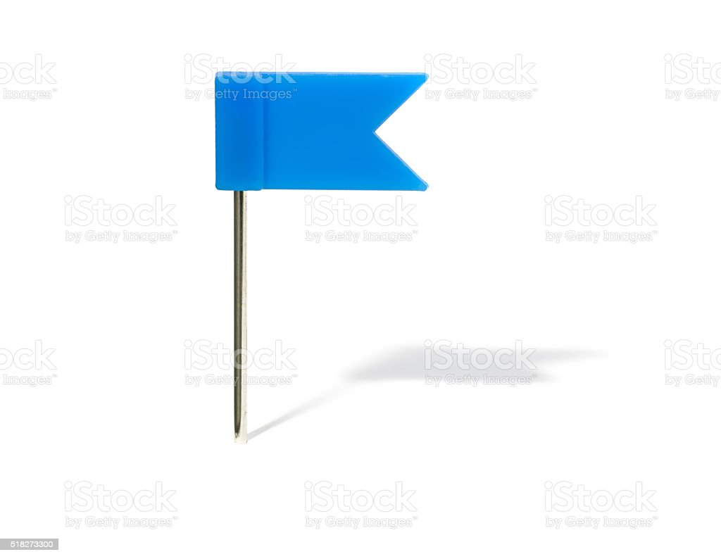 Blue flag pin with shadow stock photo