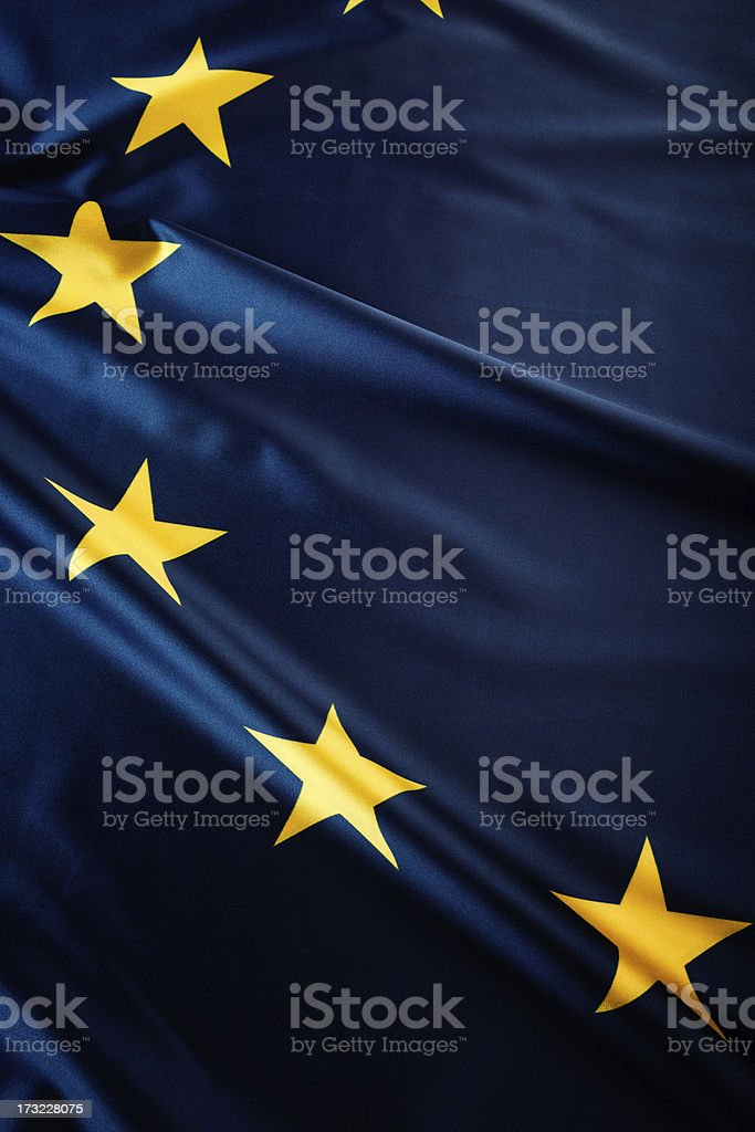 Blue flag with yellow stars of the European Union royalty-free stock photo