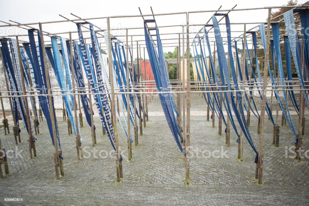 Blue flags structure in Whuzhen, Chinese village stock photo