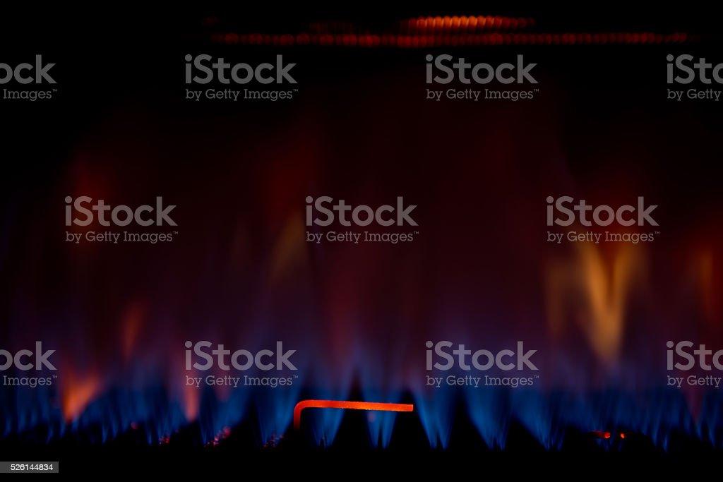 Blue flame burners - burner of boiller stock photo