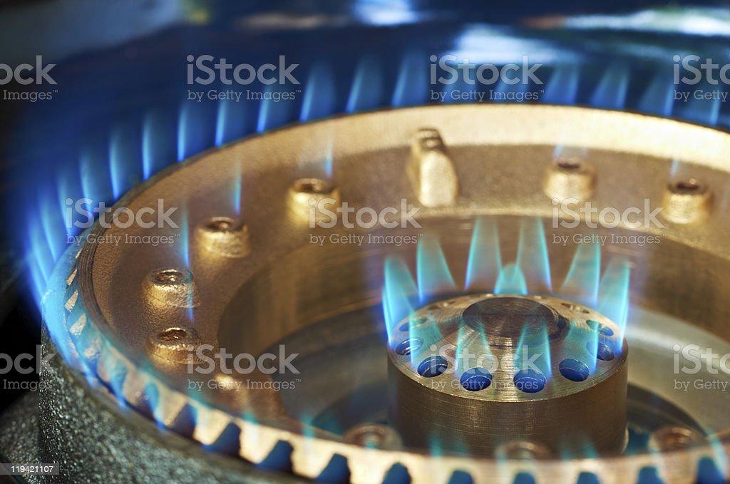 Blue flame of a propan-butan burner stock photo