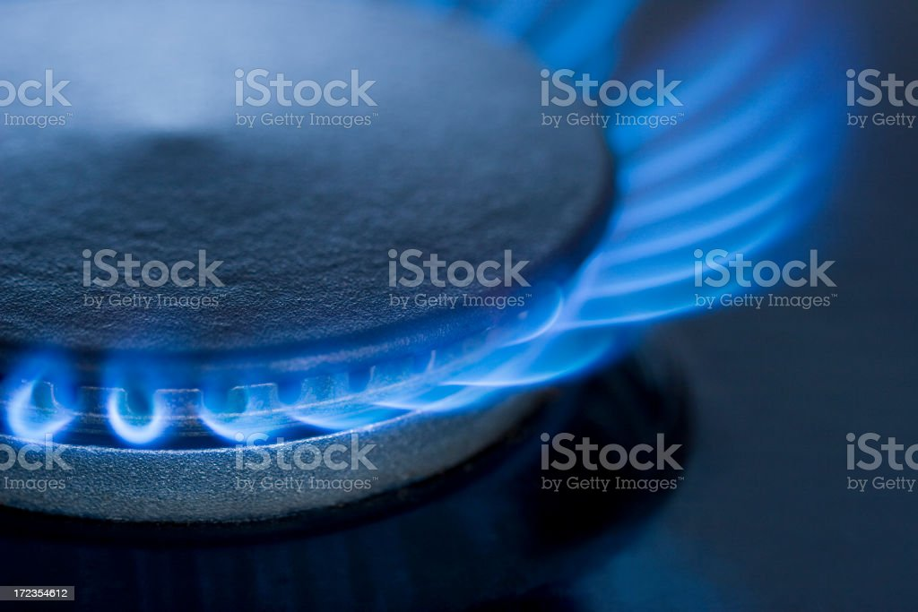 Blue Flames from a gas burner series 3 royalty-free stock photo