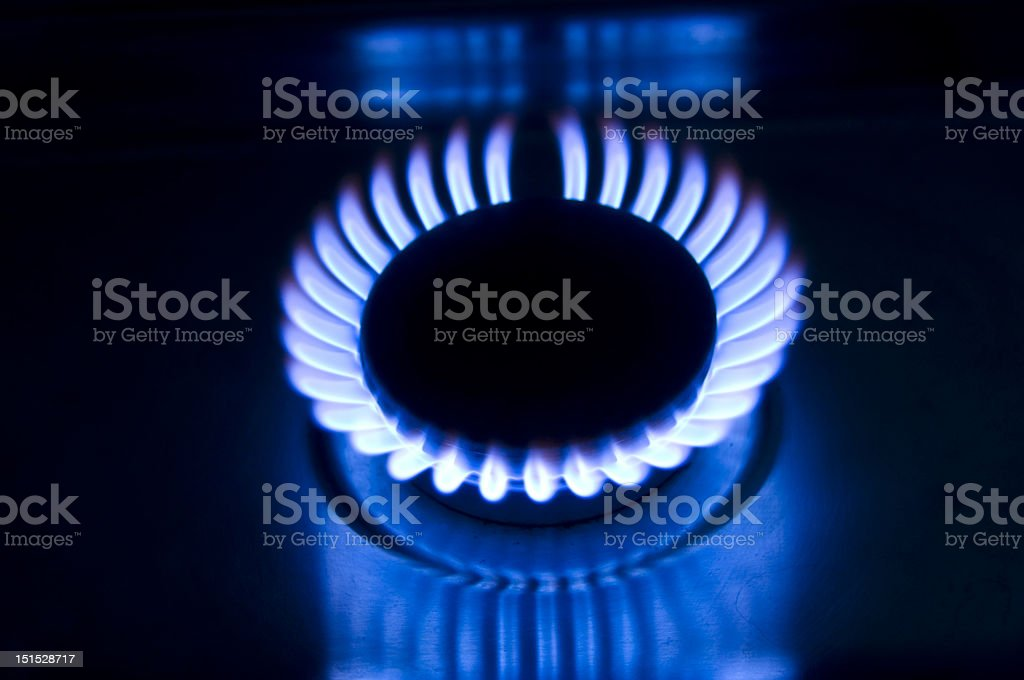 Blue flames from a natural gas burner royalty-free stock photo