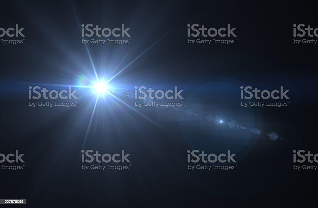 Blue Flare on black background stock photo