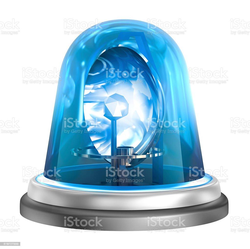 Blue flasher icon stock photo