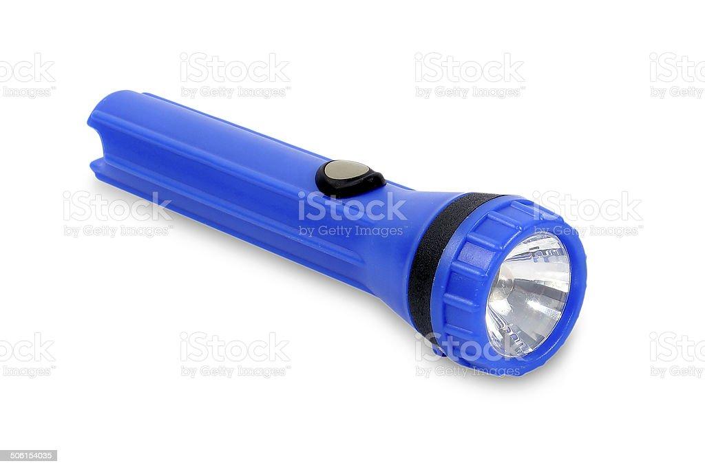 Blue flashlight LED isolated on white background. stock photo