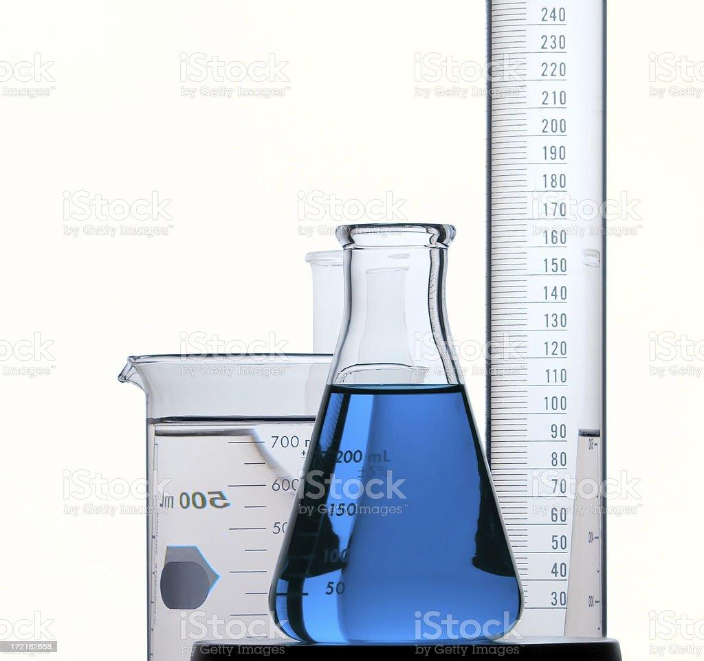 Blue Flask, Beaker and Graduate. Isolated on White royalty-free stock photo